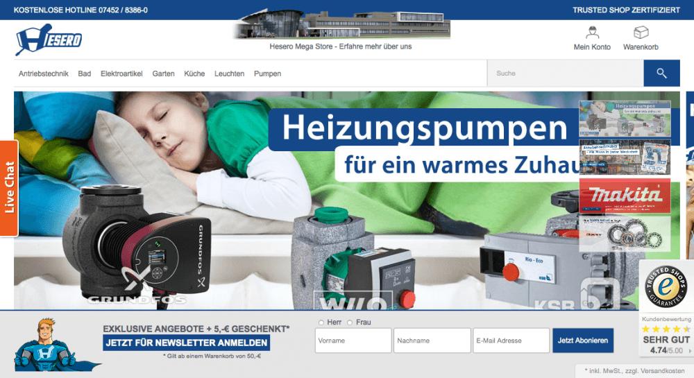 Webdesign Umsetzung des Shops sowie technische Entwicklung