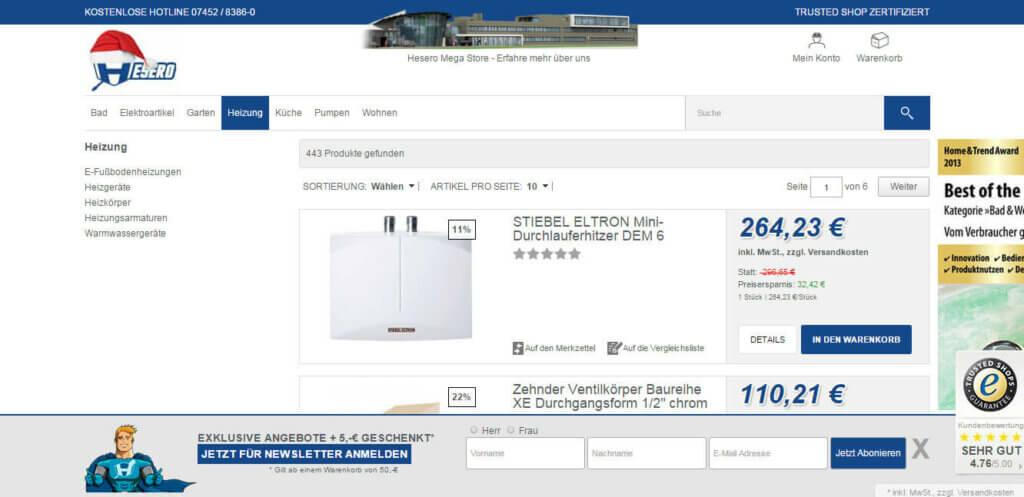 Oxid Template Webdesign für hesero von adelmannsolutions